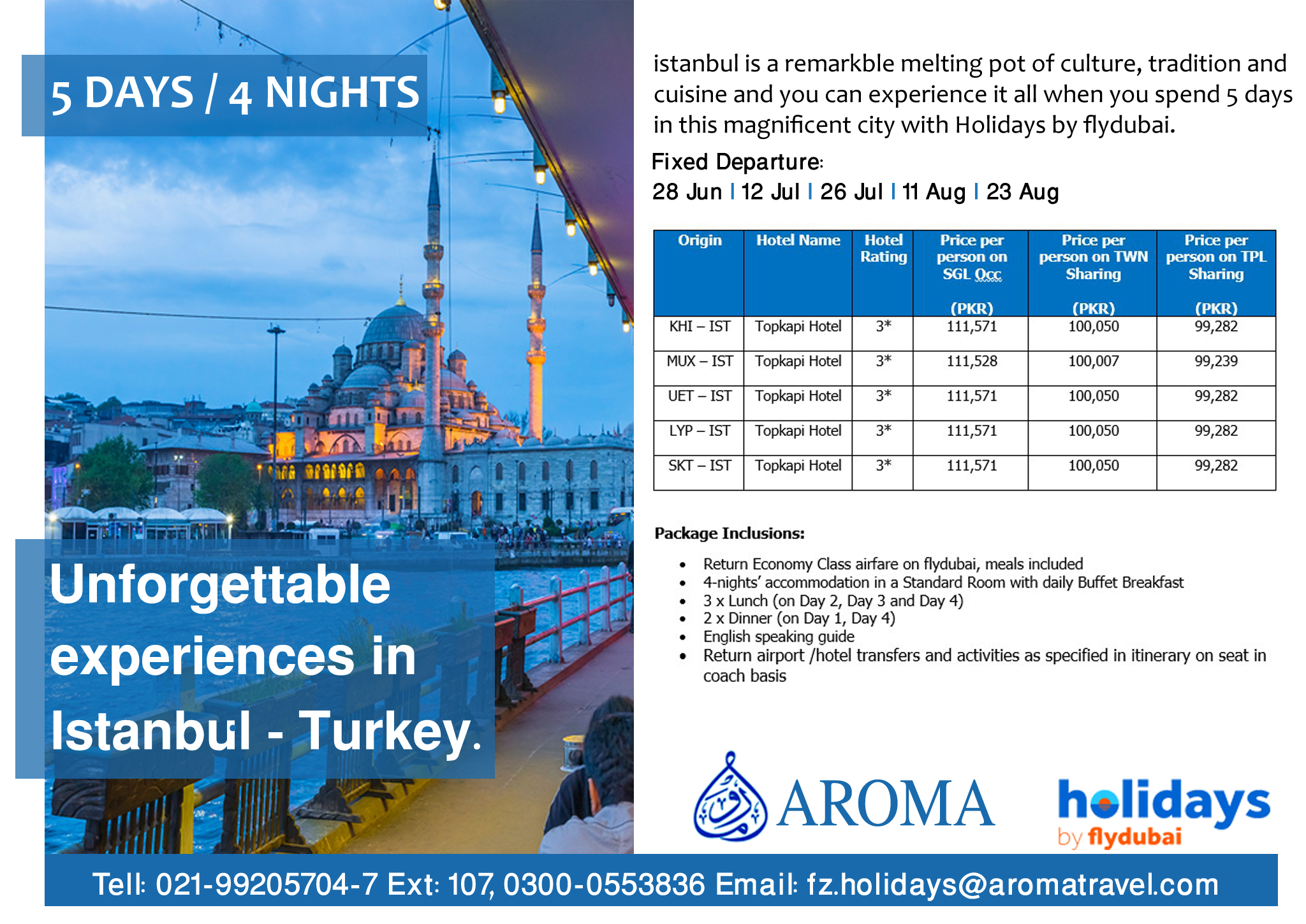 Aroma Travel Services Istanbul Travel Deal By Fly Dubai